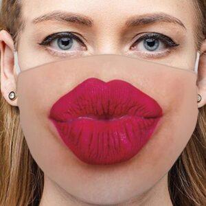 Stoffmaske Schutzmaske mit lustigem Aufdruck Kussmund