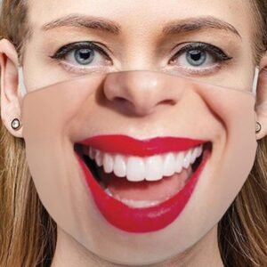 Stoffmaske Schutzmaske mit lustigem Aufdruck Lächeln