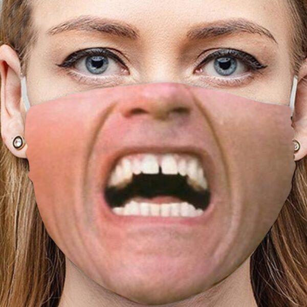 Stoffmaske Schutzmaske mit lustigem Aufdruck Schrei