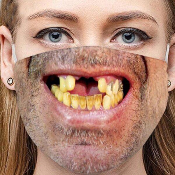 Stoffmaske Schutzmaske mit lustigem Aufdruck Zahnlücke