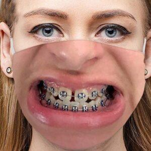 Stoffmaske Schutzmaske mit lustigem Aufdruck Zahnspange