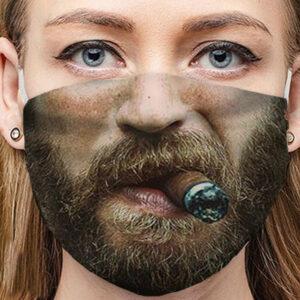 Stoffmaske Schutzmaske mit lustigem Aufdruck Zigarre