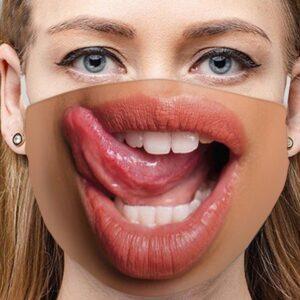 Stoffmaske Schutzmaske mit lustigem Aufdruck Zunge Links