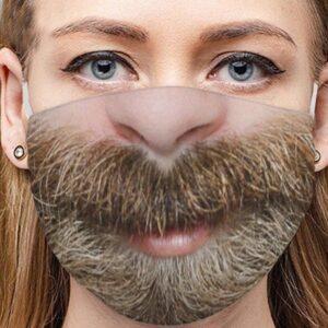 Stoffmaske Schutzmaske mit lustigem Aufdruck flauschiger Bart