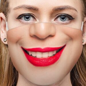 Stoffmaske Schutzmaske mit lustigem Aufdruck freundliches Lächeln