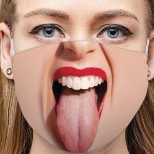 Stoffmaske Schutzmaske mit lustigem Aufdruck lange Zunge