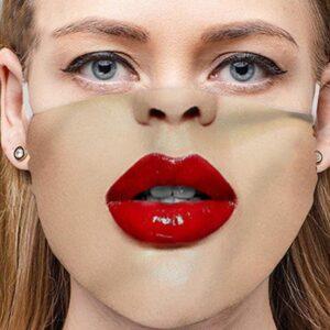 Stoffmaske Schutzmaske mit lustigem Aufdruck rote Lippen