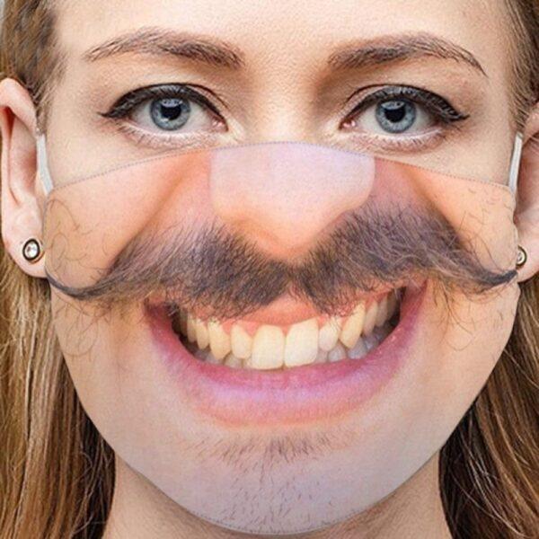 Stoffmaske Schutzmaske mit lustigem Aufdruck zwirbel Schnauz