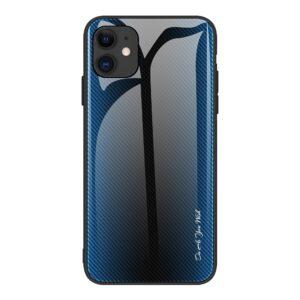 iPhone 12 Pro Max Schutzhülle Cover mit Glas Rückseite und Gummirand Carbon Optik Blau