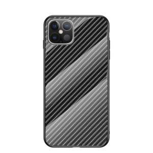 iPhone 12 Pro Max Schutzhülle Cover mit Glas Rückseite und Gummirand Carbon Optik Dunkelblau