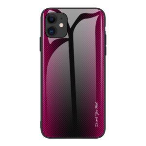 iPhone 12 Pro Max Schutzhülle Cover mit Glas Rückseite und Gummirand Carbon Optik Pink