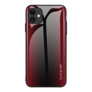 iPhone 12 Pro Max Schutzhülle Cover mit Glas Rückseite und Gummirand Carbon Optik Rot