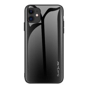 iPhone 12 Pro Max Schutzhülle Cover mit Glas Rückseite und Gummirand Carbon Optik Schwarz