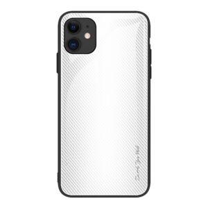 iPhone 12 Pro Max Schutzhülle Cover mit Glas Rückseite und Gummirand Carbon Optik Weiss