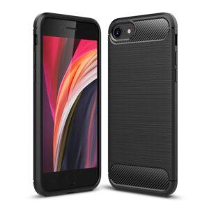 Gummi Schutzhülle für das iPhone SE / 8 / 7 mit Metall und CarbonOptik