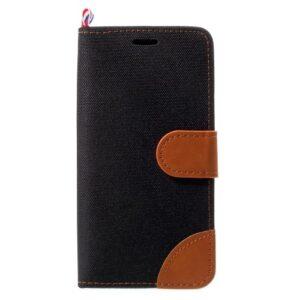 iPhone XS X Buch Etui Tasche mit Kartenfach Stoff
