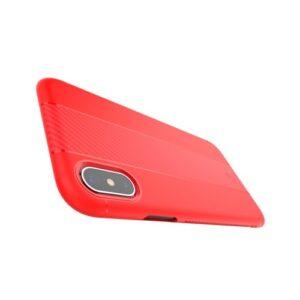 iPhone XS / X Gummi Schutzhülle Carbon Optik in Rot