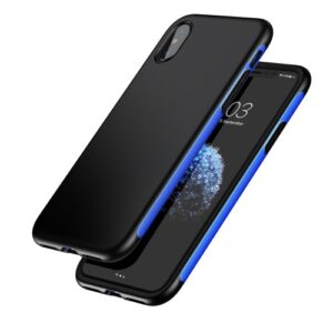 iPhone XS / iPhone X Gummi Slim Schutzhülle Premium von Baseus Grip Line Blau