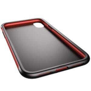 iPhone XS / iPhone X Gummi Slim Schutzhülle Premium von Baseus Grip Line Rot