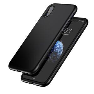 iPhone XS / iPhone X Gummi Slim Schutzhülle Premium von Baseus Grip Line Schwarz