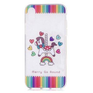 iPhone XS / iPhone X Gummi Slim Schutzhülle mit coolem Aufdruck Einhorn