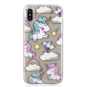 iPhone XS / iPhone X Gummi Slim Schutzhülle mit coolem Aufdruck Einhorn Wolken