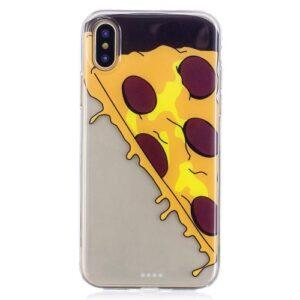 iPhone XS / iPhone X Gummi Slim Schutzhülle mit coolem Aufdruck Pizza