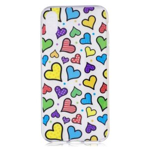 iPhone XS / iPhone X Gummi Slim Schutzhülle mit coolem Aufdruck bunte Herzen