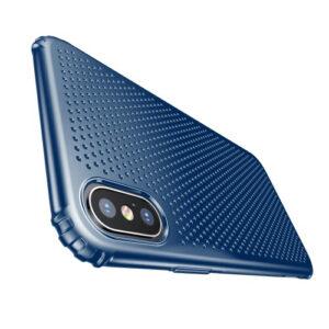 iPhone XS / X Gummi Schutzhülle Ultra Slim im gelocht Design vom Premium Hersteller Baseus in Blau