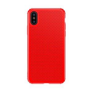 iPhone XS / X Gummi Schutzhülle Ultra Slim im gelocht Design vom Premium Hersteller Baseus in Rot