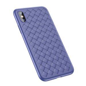 iPhone XS / X Gummi Schutzhülle Ultra Slim im gewoben Design vom Premium Hersteller Baseus in Blau