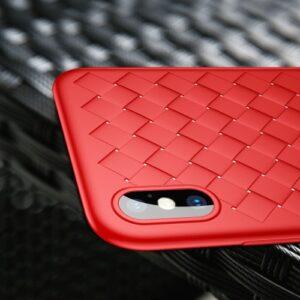 iPhone XS / X Gummi Schutzhülle Ultra Slim im gewoben Design vom Premium Hersteller Baseus in Rot