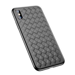 iPhone XS / X Gummi Schutzhülle Ultra Slim im gewoben Design vom Premium Hersteller Baseus in Schwarz