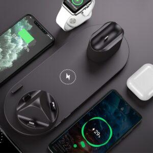 6 in 1 Multi Ladestation für Apple Airpods, Apple Watch, Apple iPhone und Android Smartphones