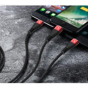 3 Geräte gleichzeitig aufladen mit dem USB auf USB-C Lightning Micro USB Ladekabel