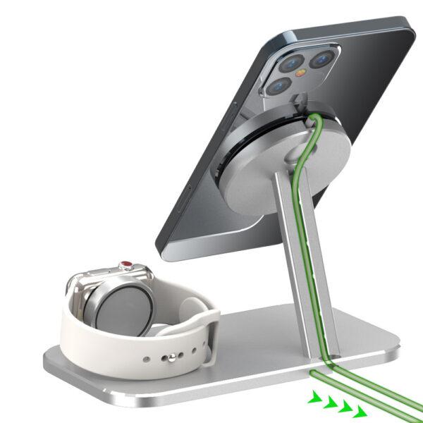 MagSafe Desktop Halterung Station für Apple iPhone und Apple Watch Silber