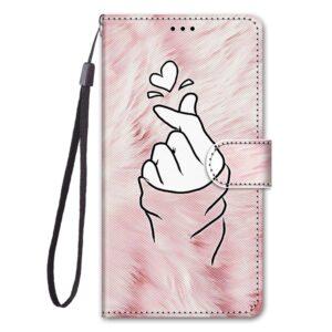 iPhone 12 Mini Buch Etui Tasche mit Kartenfach Finger Herz
