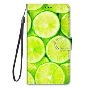 iPhone 12 Mini Buch Etui Tasche mit Kartenfach Limetten