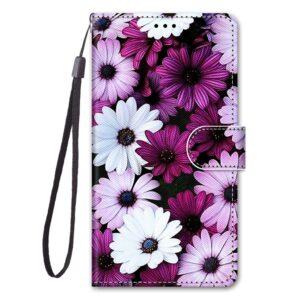 iPhone 12 Mini Buch Etui Tasche mit Kartenfach Pinke Blumen