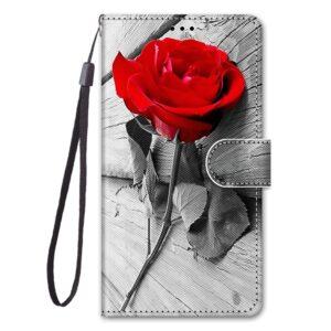 iPhone 12 Mini Buch Etui Tasche mit Kartenfach Rote Rose