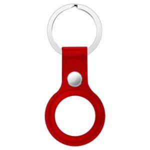 Echtleder Schlüsselanhänger Halterung für Apple AirTag Rot