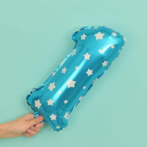 Folien Ballon Ziffer 1 40cm Blau mit Sternen