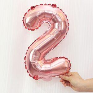 Folien Ballon Ziffer 2 40cm Rosa