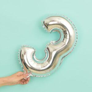 Folien Ballon Ziffer 3 40cm Silber