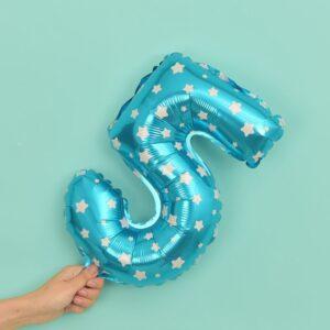 Folien Ballon Ziffer 5 40cm Blau mit Sternen