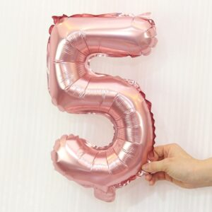 Folien Ballon Ziffer 5 40cm Rosa