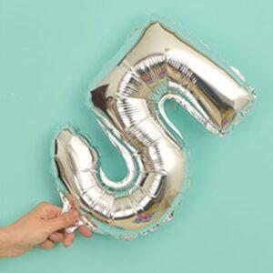 Folien Ballon Ziffer 5 40cm Silber