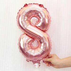 Folien Ballon Ziffer 8 40cm Rosa