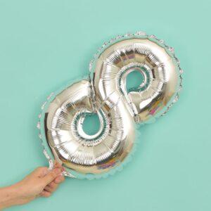 Folien Ballon Ziffer 8 40cm Silber