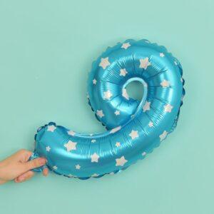 Folien Ballon Ziffer 9 40cm Blau mit Sternen